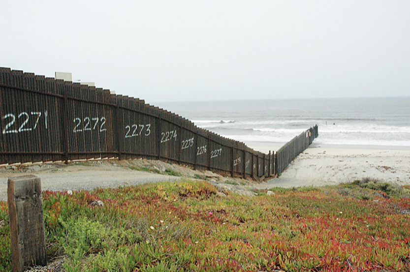 Border fence in California