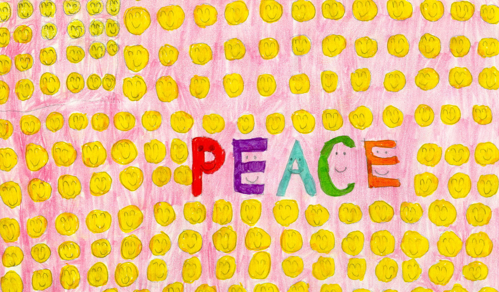 A student drawing of a peace flag